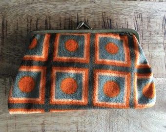 Vintage Orange, Peach and Olive Green Multicoloured Cotton Purse