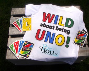 UNO birthday shirt; WILD about being UNO; first birthday outfit; birthday outfit; first birthday shirt; rainbow birthday party rainbow shirt