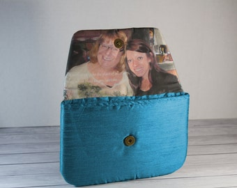 Personalized Photo Purse Teal Blue Bridesmaid Gift Wedding Clutch Mother Mother in law Gift Wedding Gift.  Teal Blue