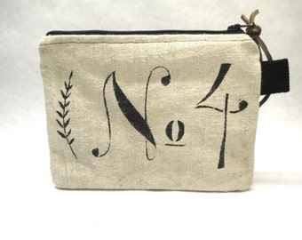 Hand Made Clutch / Up-cycled Linen Handbag / Stenciled Number 4