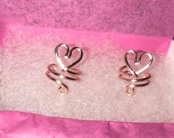 Little Heart Ear Cuff, Rose Gold Plated