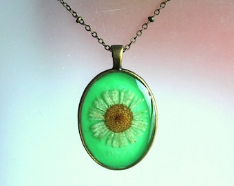 White Daisy Real Pressed Wildflower Bronze Resin Green Oval Jewelry Pendant Necklace