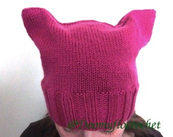 Mixed pink cat ears hat; Women's march hat in Washington; Pussy Hat with Pink Fuchsia Wool Knit