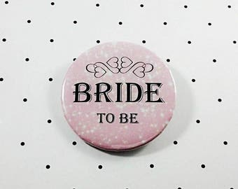 "Bride To Be Pink With Hearts 2.25"" Pinback Button"