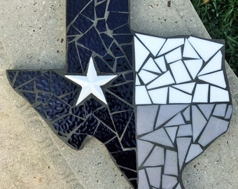 Dallas Cowboys Inspired Texas Mosaic Stained Glass, Stained Glass Wall Hanging, Mosaic Texas