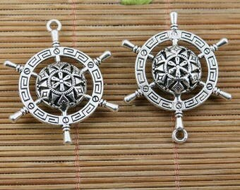 8pcs tibetan sivler 2side crafted delicate rudder charm pendants EF2404