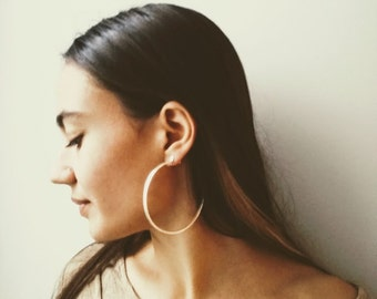 Large silver hoops, solid sterling hoops, silver plated, silver hoops, boho hoop earrings, handmade hoops, dangle, matte silver hoops