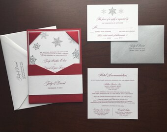Snowflake Wedding Satin Ribbon Corners Wedding Invitation