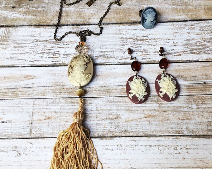 jewelry set - tassel necklace - cameo classic necklace - cameo earrings and ring - vintage jewelry - cameo jewelry - gift for her - crystals