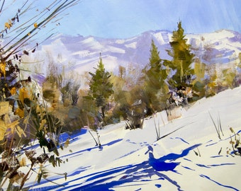 Winter painting, Mountain art, Original landscape painting, Plein air oil painting nature in winter, Scenery oil on canvas