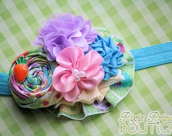 Peeps - Headband, Baby Headband, Photography Prop, Couture Headband, Hair Clip, Easter Headband, Spring Headband, Rolled Rosette Headband