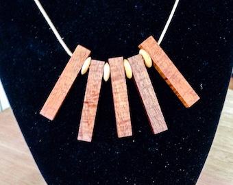 Necklace. figured timber. Tasmanian Blackwood