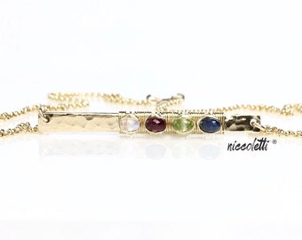 Custom Birthstone Bar Necklace / 14K Gold Bar Necklace / Hammered Cross Bar / New Mom Gift / Mother's Day Gift / Silver Birthstone Necklace