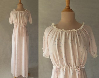 Pink Floral Nightgown - 1940s