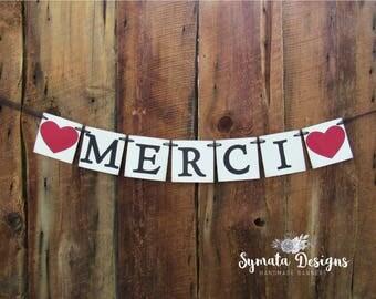 Merci heart banner- thank you banner- photo prop- wedding thank you - wedding decor- decoration- mantle banner - IATY002