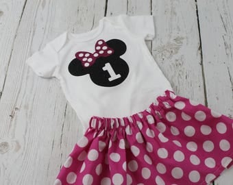 Minnie Mouse 1st Birthday Outfit Hot Pink Polka Dot Minnie Mouse Shirt Minnie Mouse 2nd Birthday Outfit Minnie Mouse 3rd Birthday Shirt