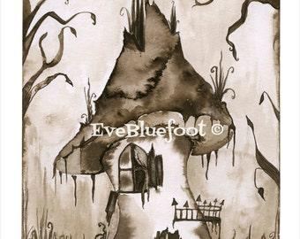 Haunted House Illustration, Goth Fine Art print, Gothic Surrealism, Sepia Ink Watercolors, Creepy House Painting, Gloomy Illustration