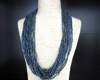 Glass Bead Torsade Necklace 19 Strands Metallic Midnite Blue 19 - 22 Inches