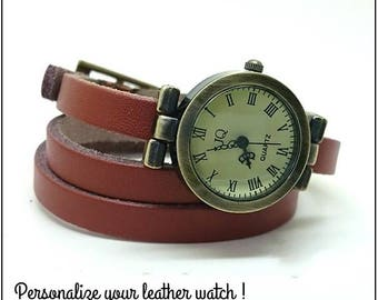 Leather watch, wrap watch for woman or leather watch men, choice leather wrist wrap