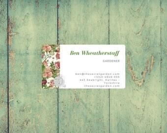 Biglietto da visita personalizzato design floreale / illustrazione botanica rose rosa / stampabile con Vistaprint / strumenti per branding