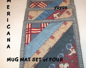 MUG MATS AMERICANA Set of Four Red White Blue Home Holiday Décor Memorial Day July Fourth