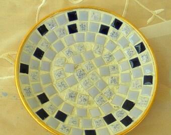 Half Off Sale Mosaic Tile Dish, Ashtray, Blue and White Tiles, Vintage Item, 1960s, Soap Dish, Trinket Tray, Dish, Mid Century Modern