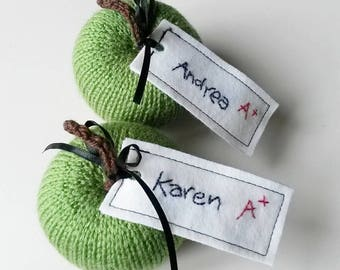 Hand knitted personalised apple for teacher