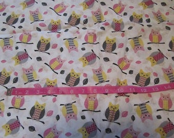 52 Inches White with Pink/Gray Owls Cotton Fabric