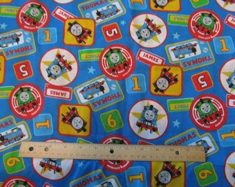 Blue/Red Blocked Thomas Train Cotton Fabric by the Yard