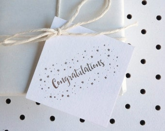 Set of 3 - Silver foil 'Congratulations' swing tags