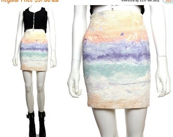 20%OFF Vtg 90s White Textured PastelTie Dye High Waist Mini Skirt S M