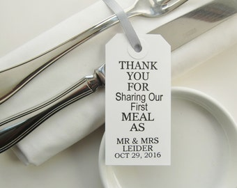 20-Wedding Napkin Ties-Wedding Table Decor-Elegant White Tags-Thank You for Sharing Our First Meal-Unique Wedding Favors-Wedding Ideas