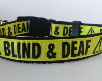 BLIND & DEAF Dog Collar - Adjustable Dog Collar - 3/4""