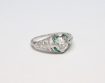 Art Deco Platinum, Diamond, and Emerald Ring - 1.20 Carat Old European Cut - EXQUISITE