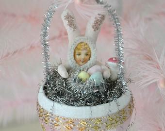 Spun Cotton Bunnies/ Easter Ornaments/ Set Of 3/