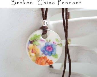 Broken China Necklace Blue Yellow Petite Floral Pendant Recycled China Cracked China Necklace Bridesmaid Jewelry Gifts Under 15 Gift For Her