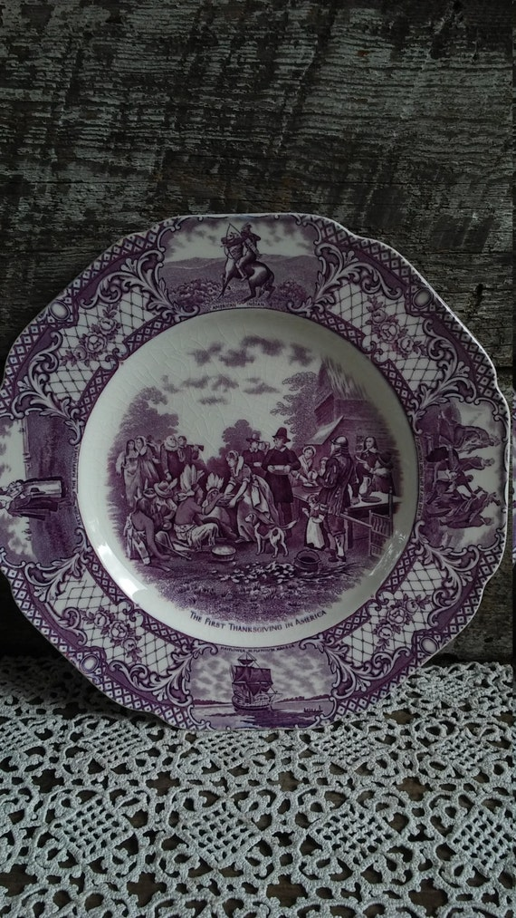 """Purple Transferware Plate, """"First Thanksgiving In America"""", Crown Ducal Colonial Times, 10"""", Pilgrims, Indians, Purple Transferware,"""