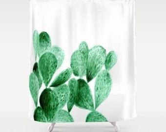 Cactus Shower Curtain, cactus shower, cactus curtain, white shower curtain, green shower curtain, plant shower curtain, modern curtain