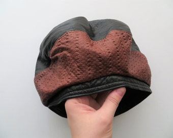 Vintage Rodan Genuine Leather Slouchy Hat, Eclectic Designer BERET, Buttery Soft Black with Brown Basketweave