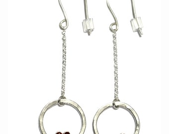 Valentine red heart pendant earrings. Sterling silver.