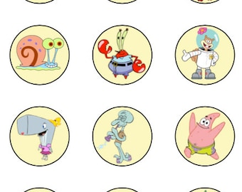 Spongebob Squarepants cupcake toppers or stickers favor tags digital download 2 inch circles instant printable labels 22807