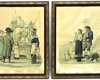 Lithographs Hand Colored Early 1800's Italian Dancing Marionette and The Dipper Cuciniello e Bianchi