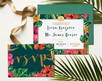 Hawaii Floral Tropical Wedding Invitation and RSVP postcard