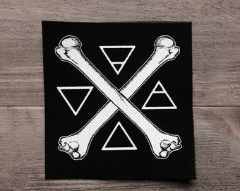 Screen printed  sew on canvas patch • black and white • Elements small patch