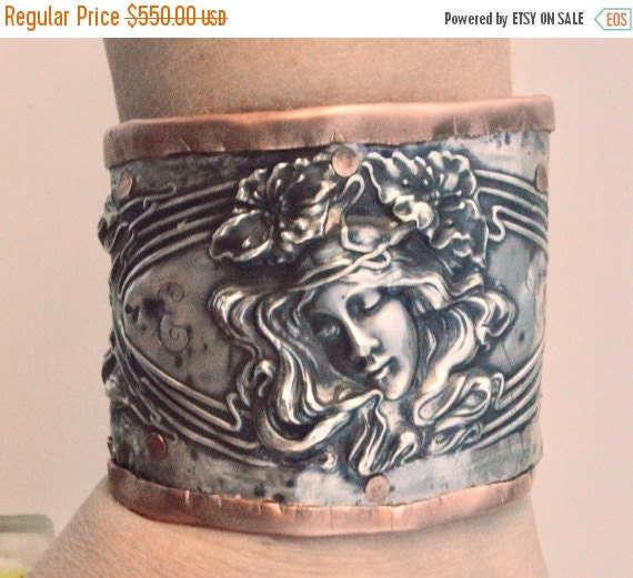 SALE 40% OFF Unger Evangeline Solid Sterling Silver 925 .925 Antique Wide Cuff Spoon Victorian Art Nouveau Repousse Embossed Baroque Copper