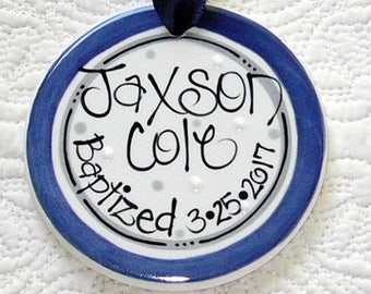 Personalized Baptism Ornament in Navy and Gray // Baptism Gift