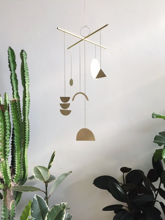 "Geometric Brass Mobile - ""Solas"" - made-to-order - 2 week turnaround time"