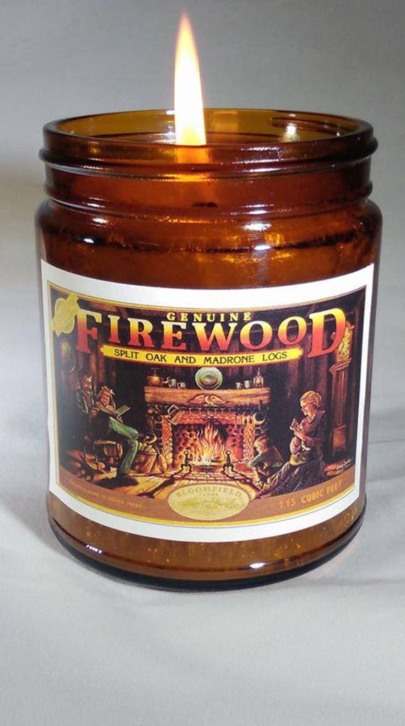FIREWOOD -  Vintage Label Genuine Wood Burning Wood Wick Fireplace Candle 9 oz.