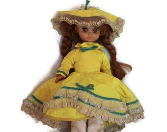 Uneeda Doll, 1963 baby doll, Victorian Dress, red hair doll, yellow dress, pantaloons, vintage doll, 1960s doll