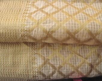 Cream and Gold Pure Cotton Silk Sari Border Fabric  Decorative Chanderi Silk Fabric